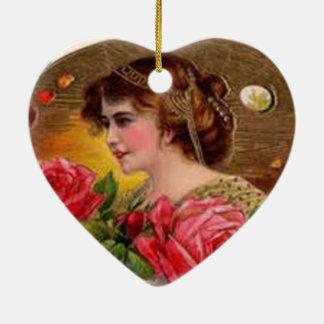 Rosas para la madre - vintage adorno navideño de cerámica en forma de corazón