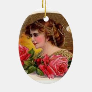 Rosas para la madre - vintage adorno navideño ovalado de cerámica