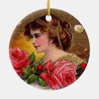 Rosas para la madre - vintage adorno navideño redondo de cerámica