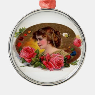 Rosas para la madre - vintage adorno navideño redondo de metal