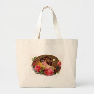 Rosas para la madre - vintage bolsa tela grande