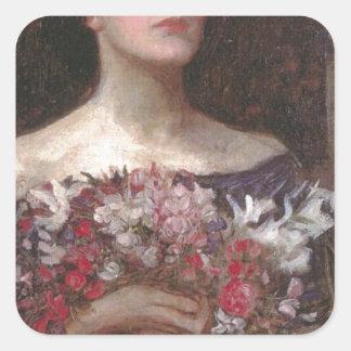 Rosas Pegatina Cuadrada