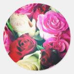 rosas pegatina redonda