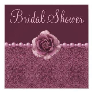 Rosas, perlas y cordón nupciales púrpuras de la anuncios personalizados
