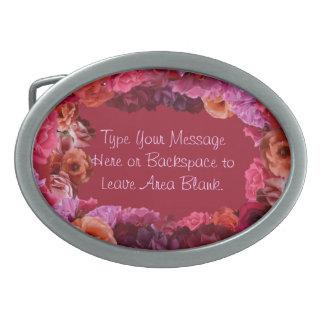 Rosas personalizados hebilla del cinturón color de hebillas cinturon ovales