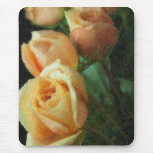 Rosas pintados del melocotón alfombrilla de ratones