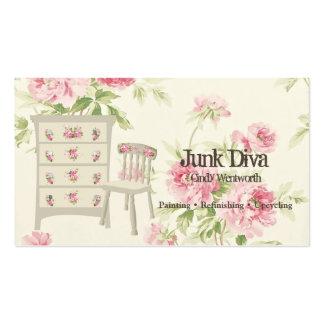 Rosas pintados del rosa de la silla del aparador tarjetas de visita