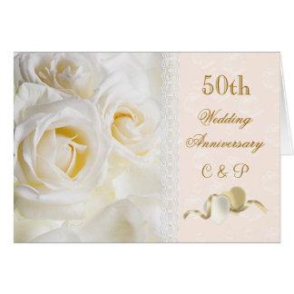 Rosas poner crema blancos, aniversario de boda de  tarjeta de felicitación