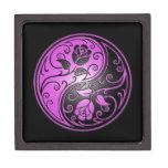 Rosas, púrpura y negro de Yin Yang Caja De Regalo De Calidad
