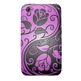 Rosas, púrpura y negro de Yin Yang Case-Mate iPhone 3 Carcasas