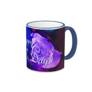 Rosas púrpuras azules felices del día de madre I Taza De Dos Colores