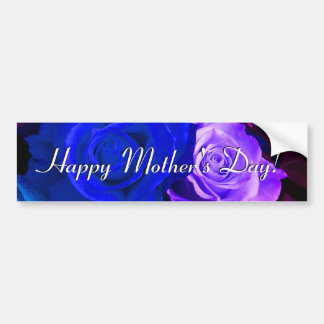 Rosas púrpuras azules felices del día de madre pegatina para auto