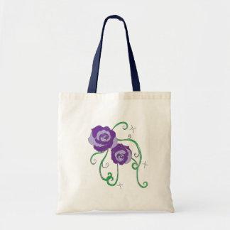 Rosas púrpuras bolsa tela barata