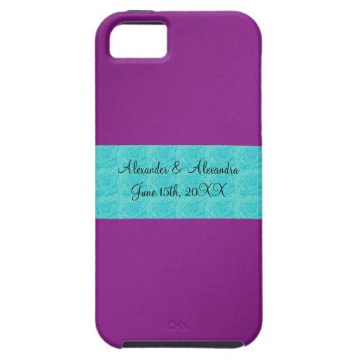 Rosas púrpuras de la turquesa que casan favores iPhone 5 Case-Mate protector