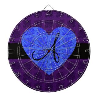 Rosas púrpuras del azul del monograma de los rosas tabla dardos