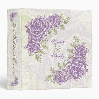 "Rosas púrpuras del bellflower del vintage que carpeta 1 1/2"""