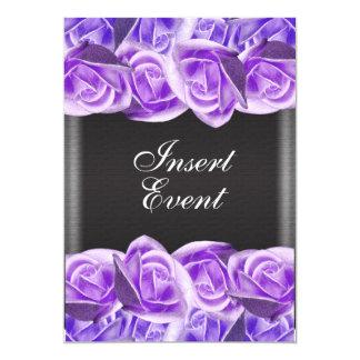 """Rosas púrpuras del boda del negro de la lavanda invitación 5"""" x 7"""""""