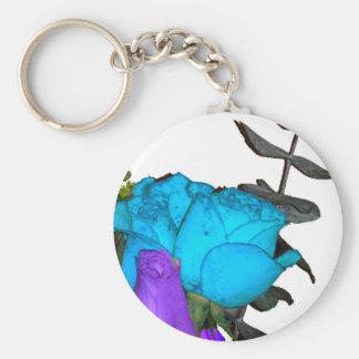 rosas púrpuras del vibrance del vibrance azul llavero redondo tipo chapa