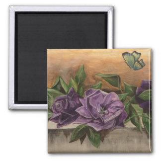 Rosas púrpuras imán cuadrado