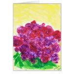 Rosas púrpuras y rojos felicitaciones
