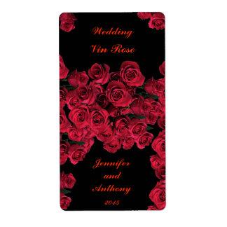 Rosas que casan la etiqueta del vino etiquetas de envío