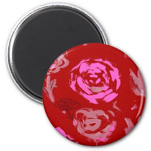 Rosas que pintan el extracto rojo del fondo imán redondo 5 cm