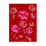 Rosas que pintan el extracto rojo del fondo postal