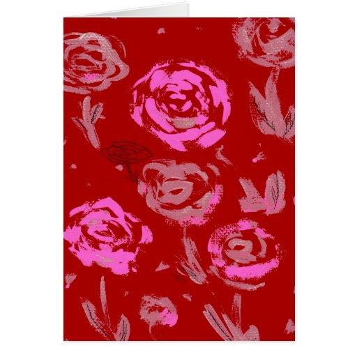 Rosas que pintan el extracto rojo del fondo felicitaciones