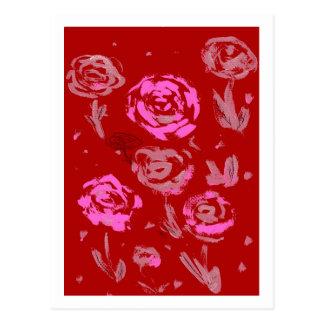 Rosas que pintan el extracto rojo del fondo tarjetas postales