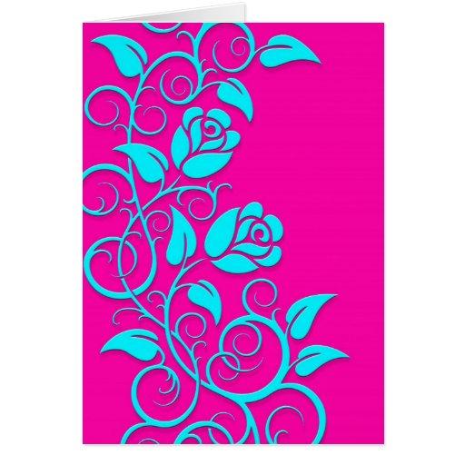 Rosas que remolinan, azules en rosa tarjeta de felicitación