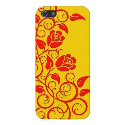 Rosas que remolinan, rojos en amarillo iPhone 5 carcasas