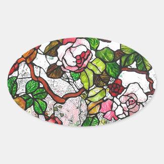 Rosas que suben - vitral pegatina ovalada