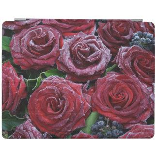 Rosas rojo oscuro congelados en un sepulcro cover de iPad