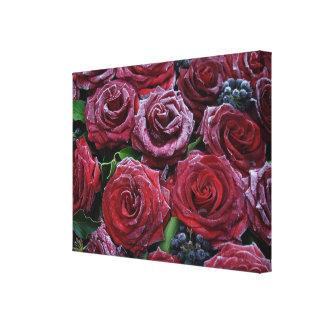 Rosas rojo oscuro congelados en un sepulcro lona envuelta para galerías