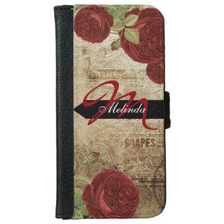 Rosas rojo oscuro del vintage del monograma funda cartera para iPhone 6