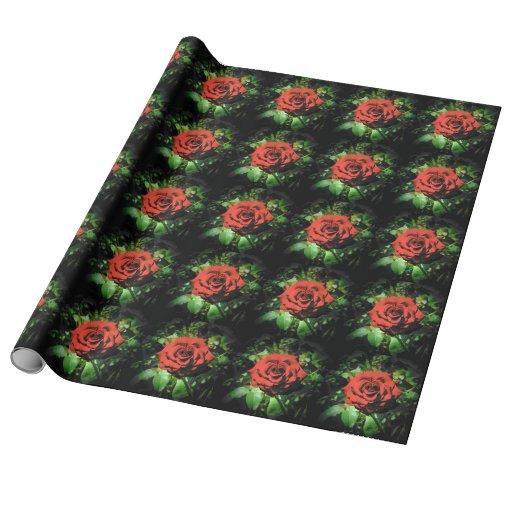 Rosas rojo oscuro papel de regalo