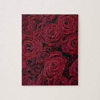 Rosas rojo oscuro puzzle