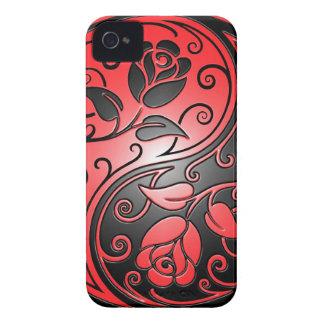 Rosas, rojo y negro de Yin Yang iPhone 4 Funda