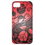 Rosas, rojo y negro de Yin Yang iPhone 5 Funda