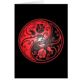 Rosas, rojo y negro de Yin Yang Felicitaciones