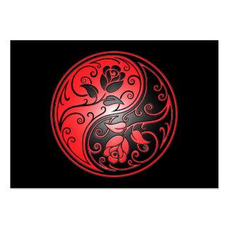 Rosas, rojo y negro de Yin Yang Tarjetas De Visita Grandes