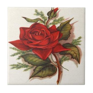 Rosas rojos azulejo cuadrado pequeño