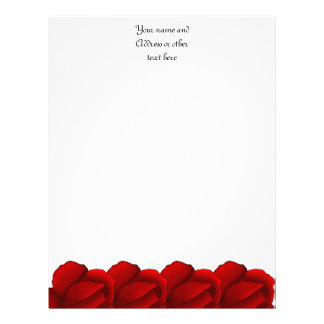Rosas rojos bonitos personalizados plantillas de membrete