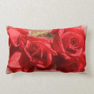Rosas rojos brillantes de la acuarela de Lucious Cojin