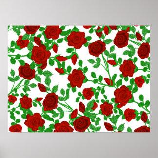 Rosas rojos brillantes en cualquier fondo del póster
