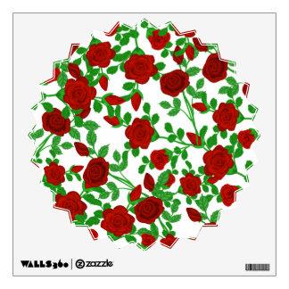 Rosas rojos brillantes en cualquier fondo del vinilo decorativo