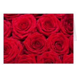 Rosas rojos con descensos del agua tarjeta