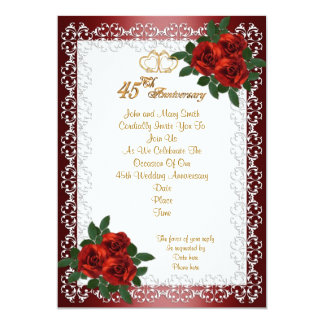 rosas rojos de la 45.a invitación de la fiesta de