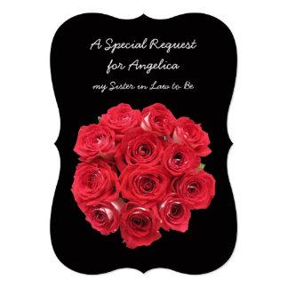 """Rosas rojos de la dama de honor futura de la invitación 5"""" x 7"""""""