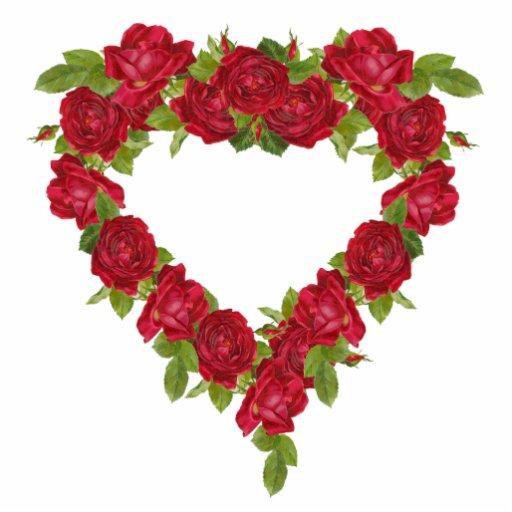 Rosas rojos de la guirnalda del corazón fotoescultura vertical